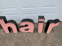 H A I R Neon Sign Metal Enclosed Letters No Transformer  Hair Sign Letters