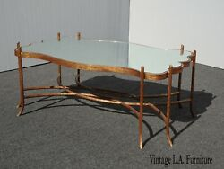 Vintage Hollywood Regency Gold Gilt Cast Iron Mirrored Top Console Coffee Table