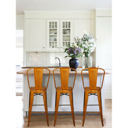 30and039and039 High Back Antique Orange Metal Bar Stool Kitchen Counter Height Stools