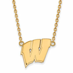 10k Yellow Gold Wisconsin Badgers School Letter Logo Charm Pendant Necklace