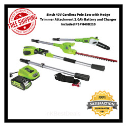 Greenworks 8 Inch 40v Cordless Pole Saw With Hedge Trimmer Attachment 2.0ah