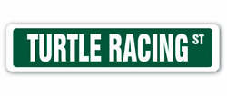Turtle Racing Street Sign Race Racer Competition Shell Food