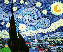 Starry Night, Van Gogh, 20x24,hand Painted Oil Painting Reproduction On Canvas