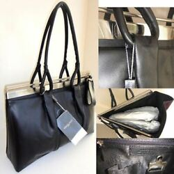 DESIGNER BLACK LEATHER LARGE BAG Made in ITALY 16 x 11 inches $600.00
