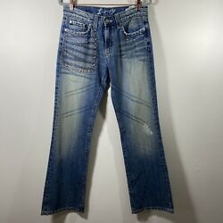 X Ray Women's Distressed Bootcut Jeans Size 32 Blue $25.60