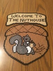 Handmade Plastic Canvas Welcome To The Nut House Completed Finished Item New