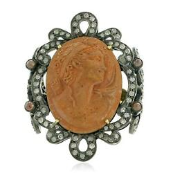 Carved Cameo Natural Diamond Designer Cocktail Ring 925 Silver 18k Gold Gift