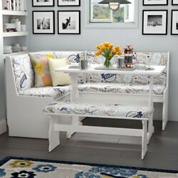 New Fun Print And White Breakfast Nook Dining Set Corner Booth Bench Kitchen Table
