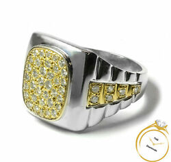 Menand039s Jubilee Style 14k Two-tone Gold Diamond Signet Ring 1.44 Ct Si G/h
