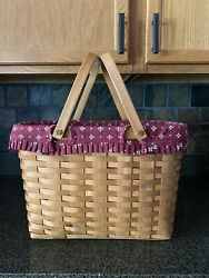 1994 Longaberger Magazine Basket W/ Swinging Handles Trad Red Liner And Protector