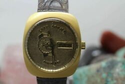 Vintage Jostens Automatic Gold Tone Wrist Watch Running Holly Farms Safe Driver