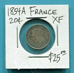 France - Fantastic Historical Toned Silver 20 Centimes 1854 A Km 778.1