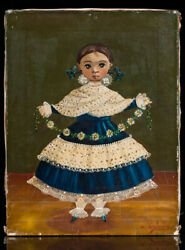 Agapito Labios Girl With Flowers And Blue Dress Painting Signed