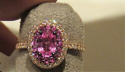 Last Callnwt 4800 Rare Outstanding 14kt Fancy Pink Sapphire And Diamond Ring