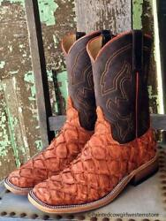 Anderson Bean Menand039s Ember And Chocolate Big Bass Square Toe Western Boots 328546