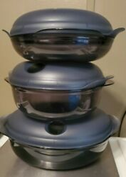 3 Piece Tupperware Heat N Serve 5433a-2 With Vent Lids 8 3/4 61/4 3 Cups New