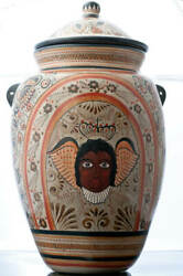 Tonala Burnished Clay Vase Tibor Crwoned Angels Mexican Pottery By Luis Cortez