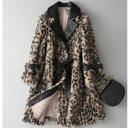 2020 Winter Leopard Print Faux Fur Jacket Stand Collar Casual Women Thickening