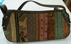 FOSSIL TAPESTRY PURSE W LEATHER STRAP BOTTOM TRIM 3 COMPARTMENTS amp; ZIPPER VEUC