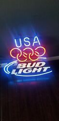 Bud Light Usa Olympics Beer Neon Sign 27x25 Authentic Collectible Man Cave