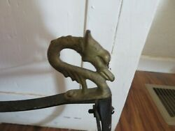 Antique Chlld's Snow Sled Wood And Metal With Orante Handles Dragon Handles