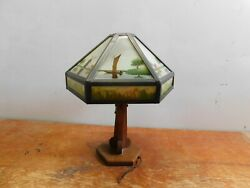 Antique Arts And Crafts Mission Oak Table Lamp Reverse Painted Glass Shade