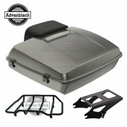 Advanblack Industrial Grayglossy Razor Tour Pack Trunk Luggage F/ 97-20 Harley