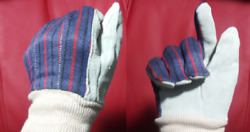 CUTE Womens Gardening Work Gloves With Sky Blue Suede Leather Palms Garden $6.95