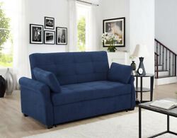 Sofa Bed Sleeper Queen Size Convertible Couch Navy Blue Eucalyptus Wood Frame