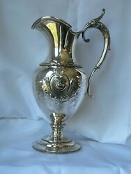 Wood And Hughes Grecian Coin Silver Water Pitcher Ewer With Horse Medallion