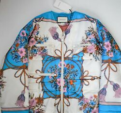 New Authentic Floral And Tassel Print Nylon Quilted Jacket Coat It-40 M/l
