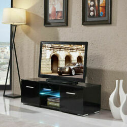High Gloss Tv Stand Unit Cabinet 2 Storages Console Table W/colorful Led Light