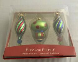 Fitz and Floyd Hand Painted Glass Ornaments Set of 3 in Original Box