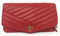 Tory Burch 56824 Red Kira Chevron Clutch Women#x27;s Handbag New $196.80