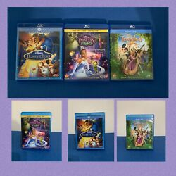 Disney Princess And The Frog, Beauty And The Beast And Tangled Blu Ray Movie Lot