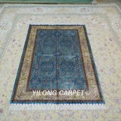 Yilong 4and039x6and039 All-over Handmade Silk Carpet Blue Flower Oriental Area Rug Ywx111a