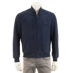 Brioni 6700 Navy Blue Perforated Suede Bomber Jacket