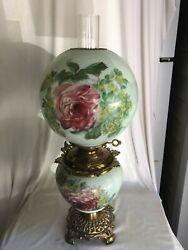 Gorgeous Gone With The Wind Oil Lamp Rose And Daisies Milk Glass Gwtw Pink G2-1