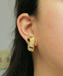 18k Yellow Gold Egyptian Inspired Pave Diamond And Tapered Blue Sapphire Earrings