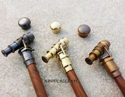 Style Walking Stick Cane Lot Of 3 Solid Brass Telescope Handle