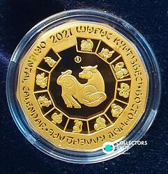 Kazakhstan Gold 500 Tenge Lunar Year Of The Ox 2021 Zodiac 1/4 Oz Gold Prf