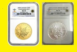 2008 Canada Maple Leaf 2 Oz Gold And Silver Set Ngc Ms 70 Rare Low Pop Low Mint