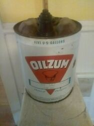 Nice Large Oilzum Motor Oil Can 5 Gallon Metal White And Bagley Co Worcester Ma