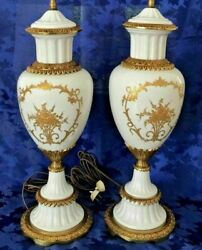 Vintage Rare Sevres France Hand-painted White Porcelain And Gold Lamps