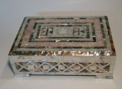 Antique Mother Of Pearl Trinket Box Palestinian Handmade Jewelry Large Box