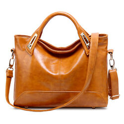 Oil Wax Leather Tote Purse Leather Satchel Handbag Messenger Shoulder Bag Women $20.99