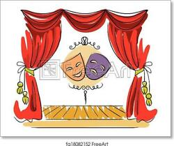 Theater Stage Vector Art Print / Canvas Print. Poster, Wall Art, Home Decor - I