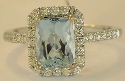 18k White Gold Aquamarine Diamond Ring Size 6 1/2 New With Tags