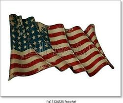 Us Flag Wwi-wwii 48 Art Print / Canvas Print. Poster Wall Art Home Decor - D