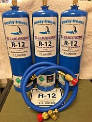 R12 Refrigerant R-12 3 28 Oz. Cans With Leak Stop Proseal Xl4 1 To 5 Hp